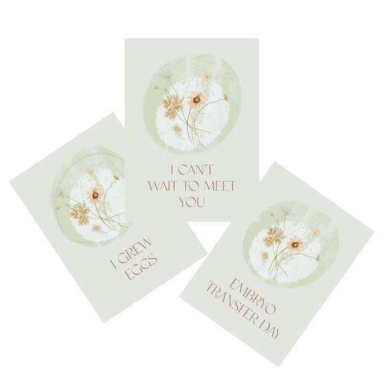 Floral IVF Journey Milestone Cards