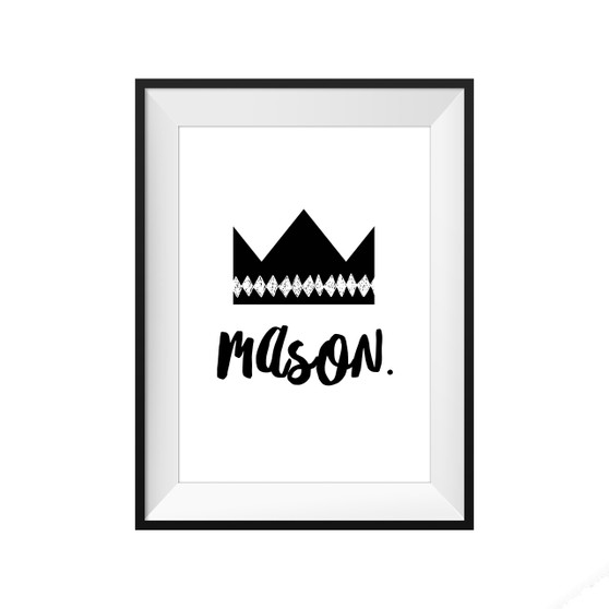 kids print wall décor art nursery art babys room décor whimsical pictures inspirational words crown customised bespoke