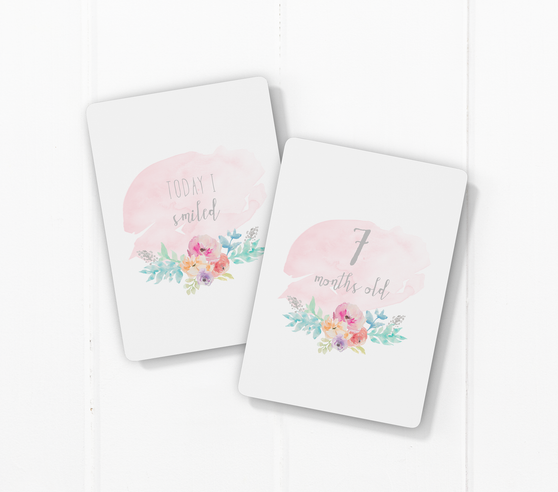 baby milestone card sets  watercolour flower motif
