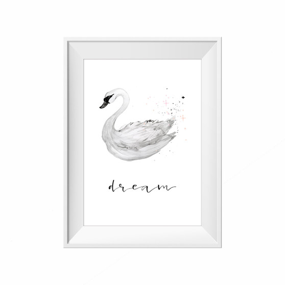 kids print wall décor art nursery art babys room décor whimsical pictures inspirational words swan motif