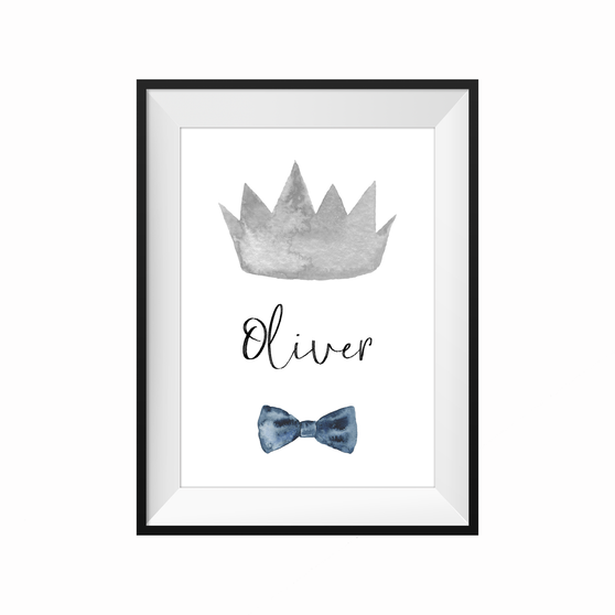 kids print wall décor art nursery art babys room décor whimsical pictures inspirational words customised bespoke prince crown motif
