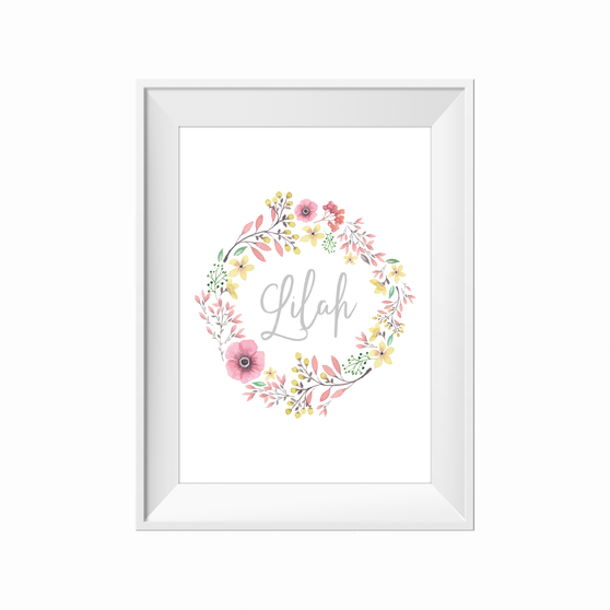 kids print wall décor art nursery art babys room décor whimsical pictures inspirational words customised bespoke wildflowers  motif