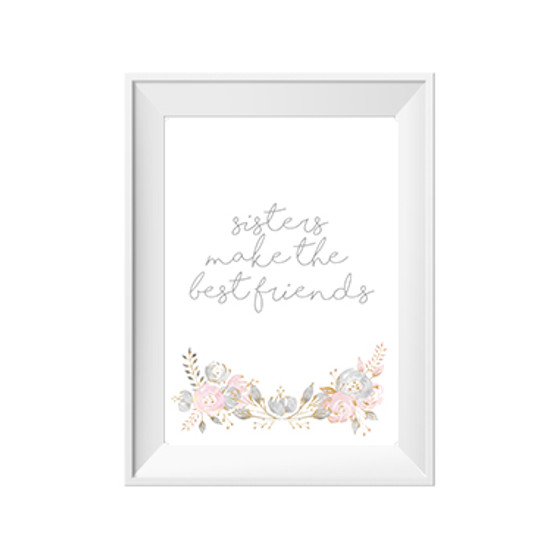 kids print wall décor art nursery art babys room décor whimsical pictures inspirational words sisters flowers motif