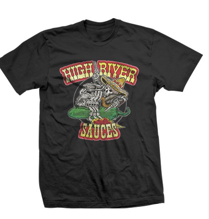 t-shirt with high river sauces logo