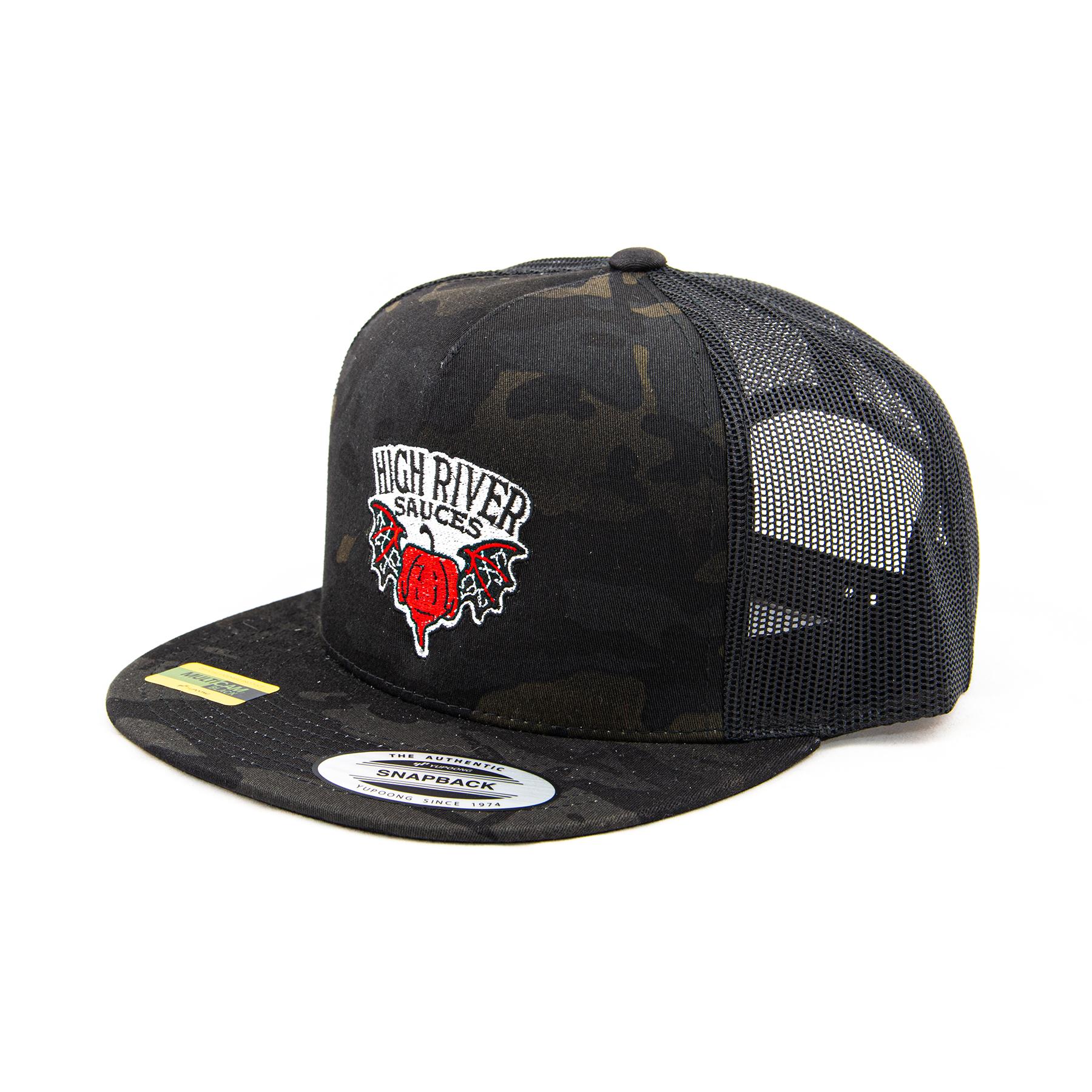 black multicam hat 3/4 view