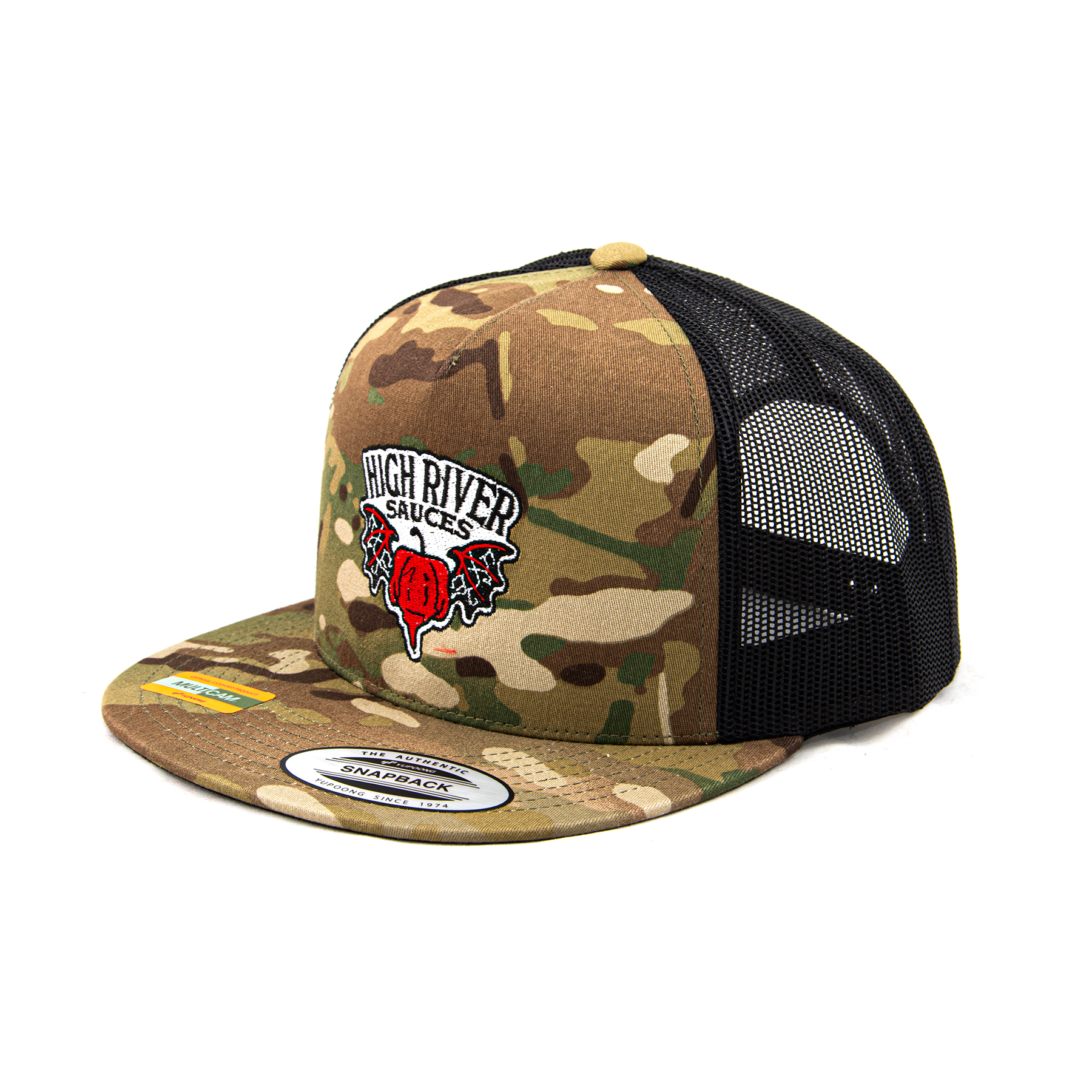 green multicam hat 3/4 view