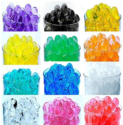 water beads purple, clear, yellow, blue, orange, white, pink, turquoise, gold, black