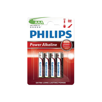 Blister di 4 batterie alcaline AAA Philips Power
