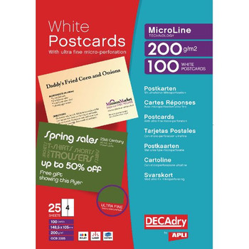 Decadry Postcards A4 Micro-perforated Sheet White (confezione da 100) OCB3325