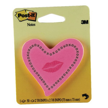 Post-it Heart With Lips Neon Pink Note 6370-HTL
