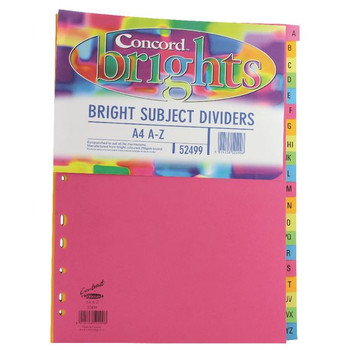 Concord A4 Bright AZ Subject Dividers (Pack of 10) 52499