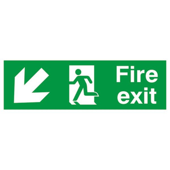 Safety Sign Fire Exit Running Man Arrow Down / Left 150x450mm PVC FX04011R