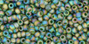 Toho Seed Beads 11/0 Rounds Transparent Rainbow Frosted Olivine 8g