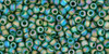 TOHO Seed Bead 11/0 Round Transparent-Rainbow-Frosted Green Emerald
