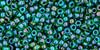 Toho Seed Beads 11/0 Round In Rainbow Peridot Opaque Green Lined