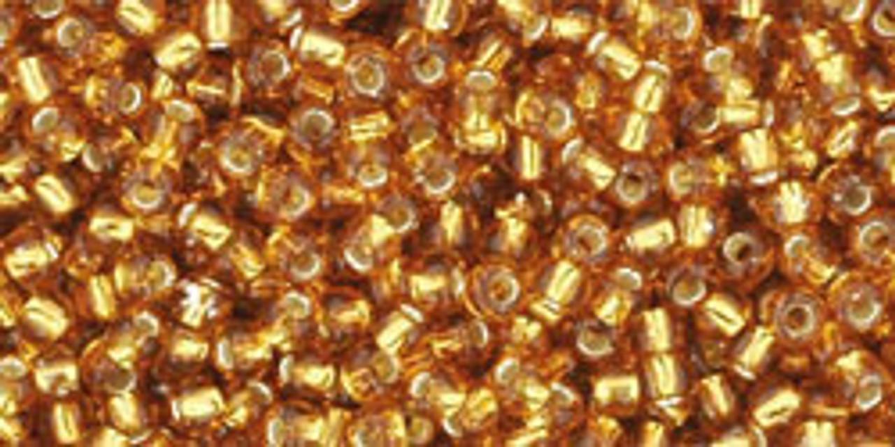 11//0 15 grams Toho Round Seed Beads #22C Dark Topaz Silver-Lined