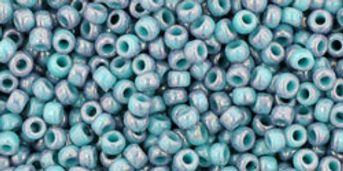 Toho Seed Bead 11/0 Round #74 Marbled Opaque Turquoise/Amethyst 20g