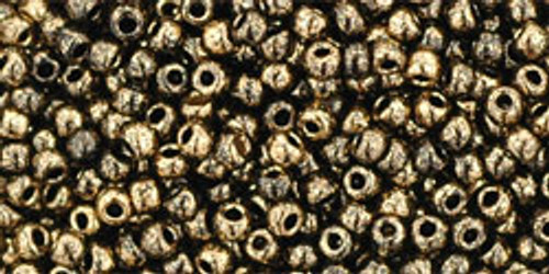 TOHO Seed Beads 11/0 Rounds #85 Gilded Marble Black 20 Grams