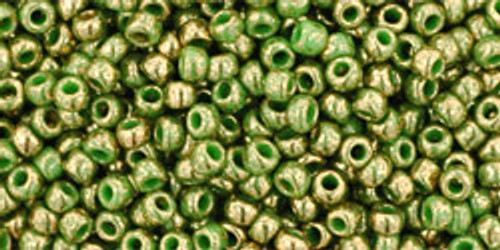 TOHO Seed Beads 11/0 Rounds #86 Gilded Marble Green 20 Grams