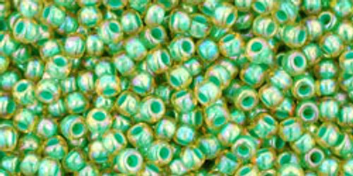 TOHO Seed Beads 11/0 Rounds In-Rainbow Light Jonquil/Mint Lined