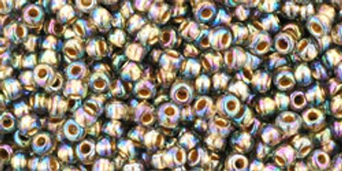 Toho Seed Beads 11/0 Round #95 Gold Lined Rainbow Black Diamond 20 gram
