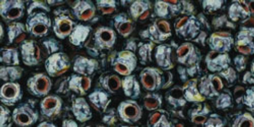 Toho Seed Beads 8/0 Rounds #10 Hybrid Jet Picasso 20 Grams