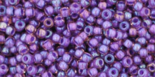 Toho Seed Beads 11/0 Round #103 Rainbow Rosaline/Opaque Purple Lined 20g