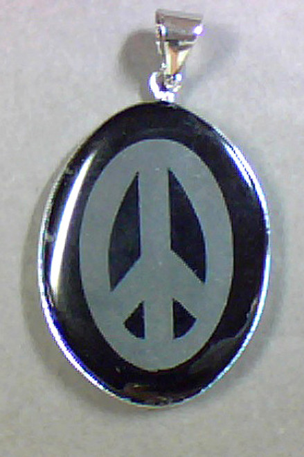 30x40mm Black Peace Sign w Bail