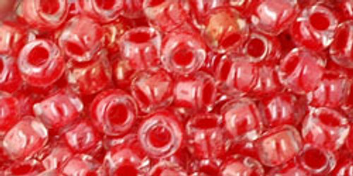 TOHO Seed Beads 6/0 Rounds Inside-Color Crystal/Tomato Lined