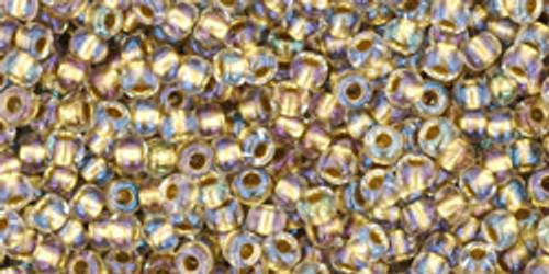 Toho Seed Beads 11/0 Rounds #112 In-Crystal/Gold-Lined  50 gram pack