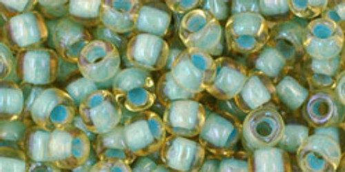 Toho Seed Bead 6/0 Round In-Rainbow Light Topaz/Sea Foam Lined