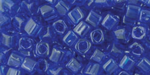 TOHO Seed Beads 3mm Cubes Transparent Cobalt
