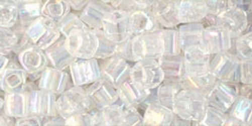 TOHO Seed Beads 3mm Cubes Transparent Rainbow Crystal