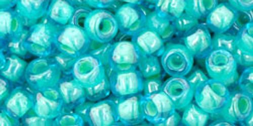 TOHO Seed Beads 6/0 Rounds Inside-Color Aqua/Light Jonquil Lined