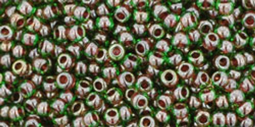 Toho Seed Bead 11/0 Round #179 In-Peridot/Fuschia Lined 20 gm