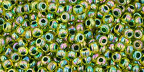 Toho Seed Bead11/0 Round #196 Rainbow Jonquil/Forest Green 20 gm