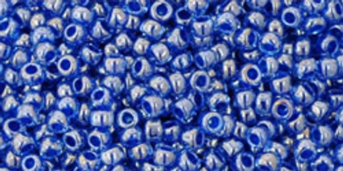TOHO seed beads 11/0 Rounds #200 Light Sapphire, Opaque Dark Blue Lined 50 Grams
