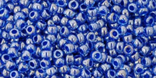 TOHO seed beads 11/0 Rounds #200 Light Sapphire, Opaque Dark Blue Lined 50 Grams