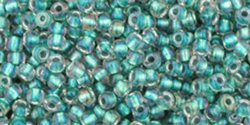 Toho Seed Beads 11/0 Rounds In-Rainbow Crystal/Teal Lined