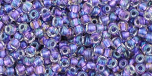 Toho Seed Beads 11/0 Rounds In-Rainbow Crystal/Metallic Purple Lined