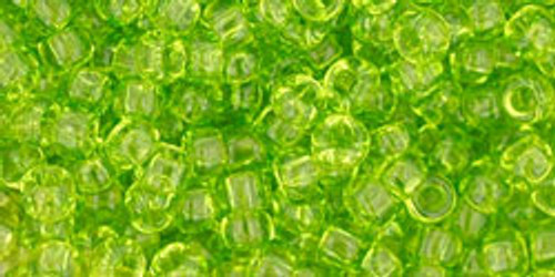 Toho Seed Beads 8/0 Rounds Transparent Lime Green