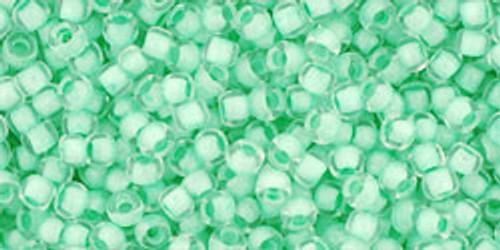 Toho Seed Beads 11/0 Rounds Inside Crystal/Neon Sea Foam Lined