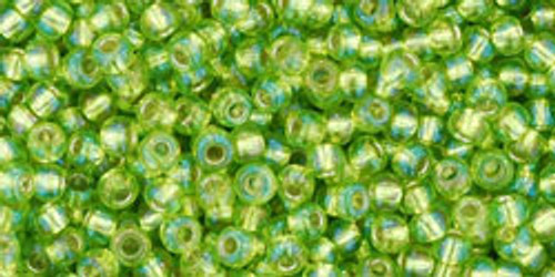 Toho Seed Beads 11/0 Rounds Silver-Lined Rainbow Lime Green