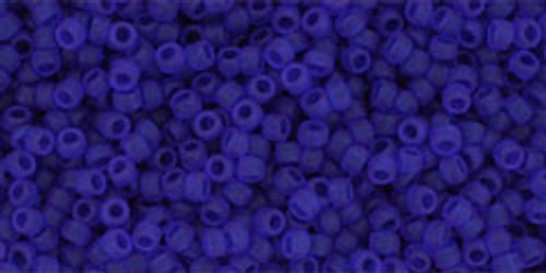 Toho Seed Beads 15/0 Rounds Transparent Frosted Dark Sapphire 8 gram TR-15-8F