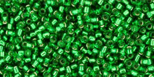 Toho Seed Beads 15/0 Rounds Silver-Lined Grass Green