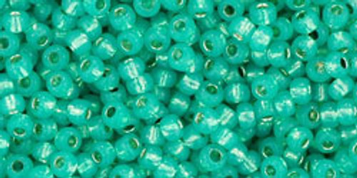 Toho Seed Beads 11/0 Rounds Silver-Lined Milky Teal