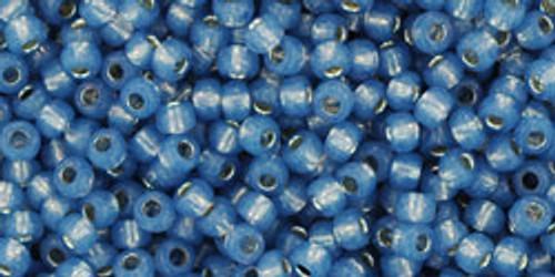Toho Seed Beads 11/0 Rounds Silver-Lined Milky Montana Blue