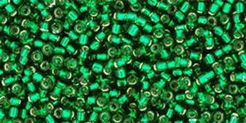 Toho Seed Beads 15/0 Rounds Silver-Lined Green Emerald