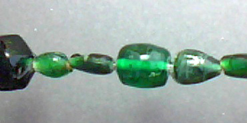 Indian Pressed Glass Beads Dark Green Mixed Shapes 7.5 inch Strand
