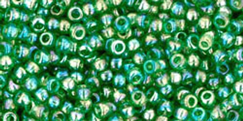 Toho Seed Beads 11/0 Rounds Transparent Rainbow Grass Green